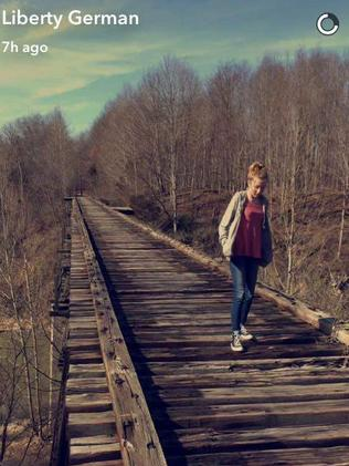 Last image of Abigail Williams alive on the old bridge posted by Libby German on Snapchat.