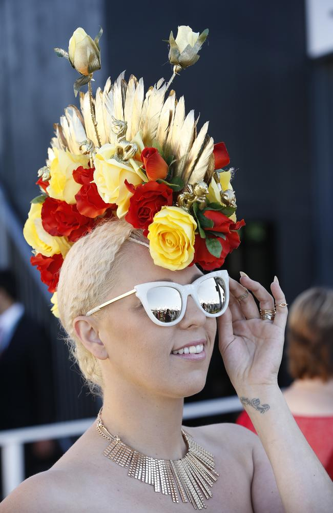 2015 Melbourne Cup Day at Flemington Racecourse. Myer Fashion in the Field. Pegi Lea wearing her own designed hat. Picture: David Caird.