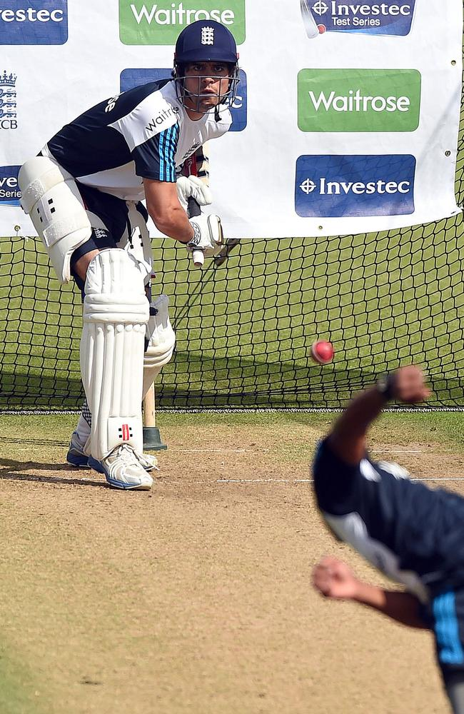 Alastair Cook tries to work himself into some form in the nets before the start of the first Test.