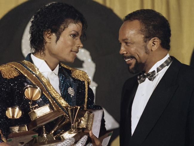 "Quincy Jones, with Michael Jackson at the Grammys in 1984, said the icon was ""Machiavellian"". Picture: AP/Doug Pizac"