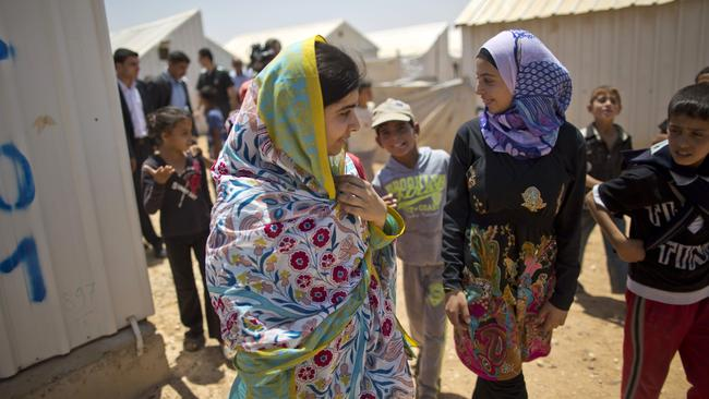Malala Yousafzai visiting the Azraq refugee camp in Jordan.
