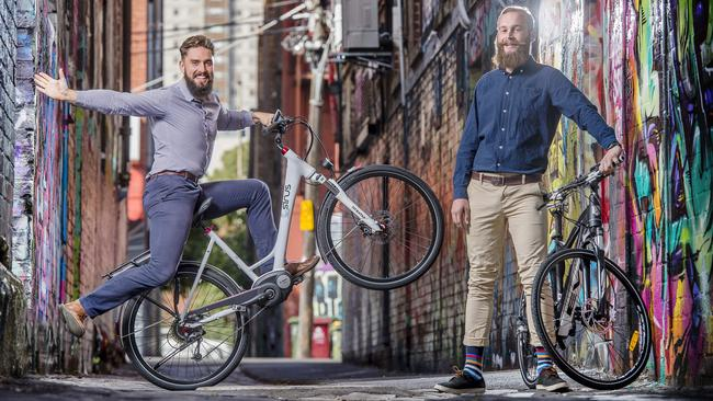 A number of bikes can help you spot a trendy suburb — Hipsters Tom Hallifax-Ballinger, 24 and Tom Lee, 24, cycle around the city. Picture: Jason Edwards