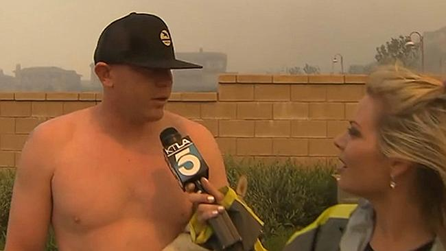 Shirtless man asks reporter out on-air