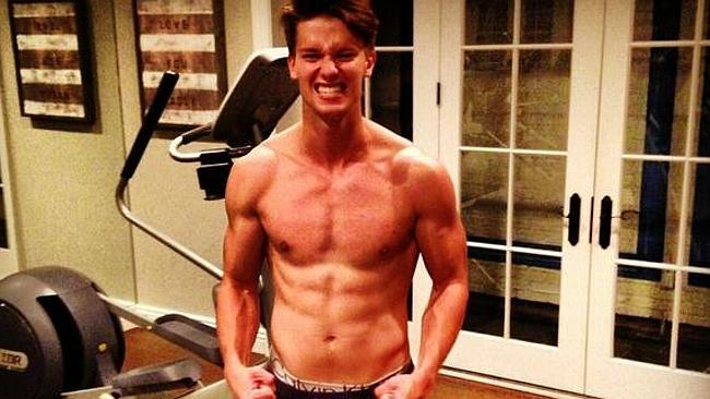 Patrick Schwarzenegger's not quite as buff as his dad, but he's working on it.