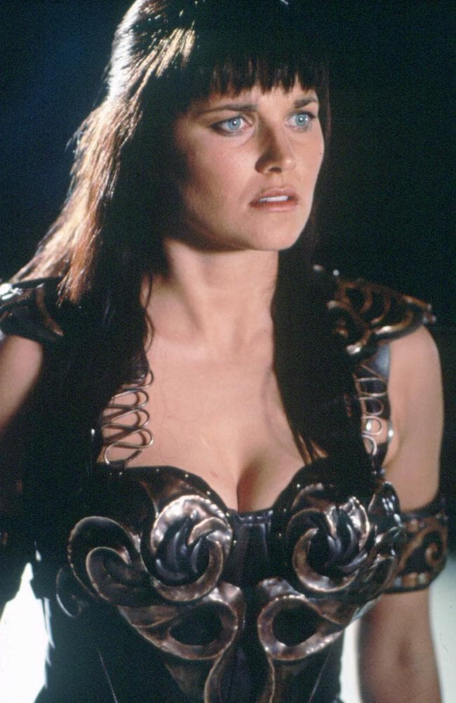"Actor Lucy Lawless in scene from 1996 television series ""Xena: Warrior Princess"". The idea of female warriors persists throughout antiquity, ranging from the Amazons of Central Europe through to the Valkyries and Shield Maidens of Norse legend."