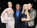 Lady Gaga, Sir Elton John, Donatella Versace, and David Furnish attend the 22nd Annual Elton John AIDS Foundation Academy Awards Viewing Party. Picture: Getty