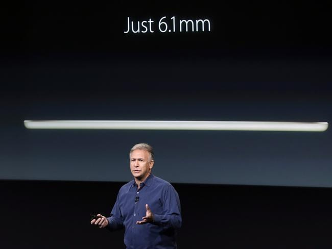 Like a pencil ... Apple worldwide marketing senior vice president Phil Schiller explains that the iPad Air 2 is just 6.1mm thin. Picture: AP Photo/Marcio Jose Sanchez