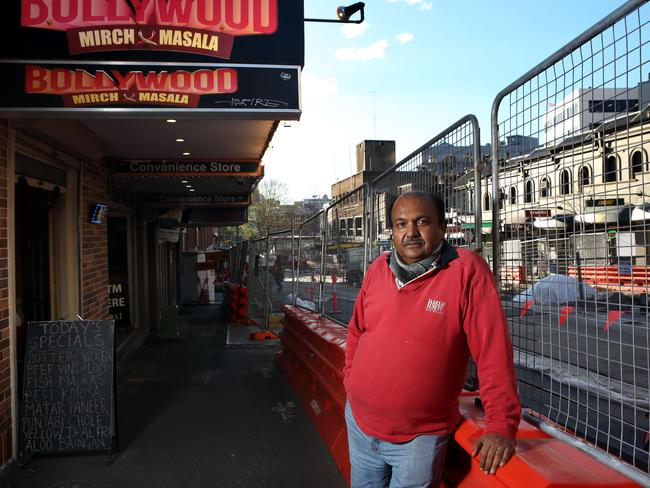 Sam Kumar stands out the front of his Bollywood Mirch Masala restaurant. Picture: James Croucher