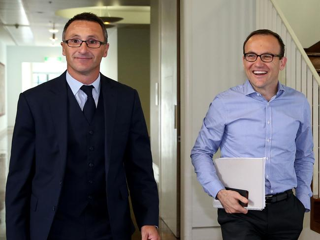 Senator Richard Di Natale and Adam Bandt MP arriving for the ballot.