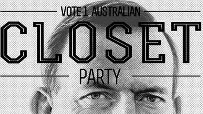 Prime spot ... Tony Abbott appeared on a poster last year. Pic: Closet Party/Facebook.