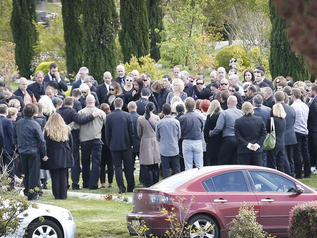 Farewelling a killer ... Volke's burial service was held at the Doveton Park Funeral Centre, North Ballarat.