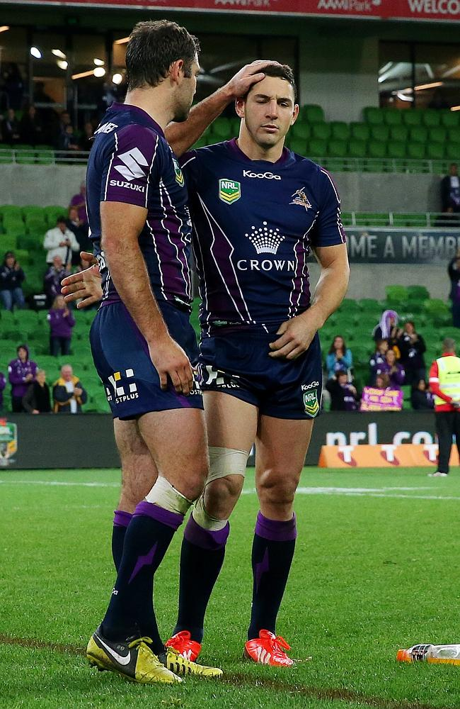 Cameron Smith consoles Billy Slater after a loss. Pic: Colleen Petch.