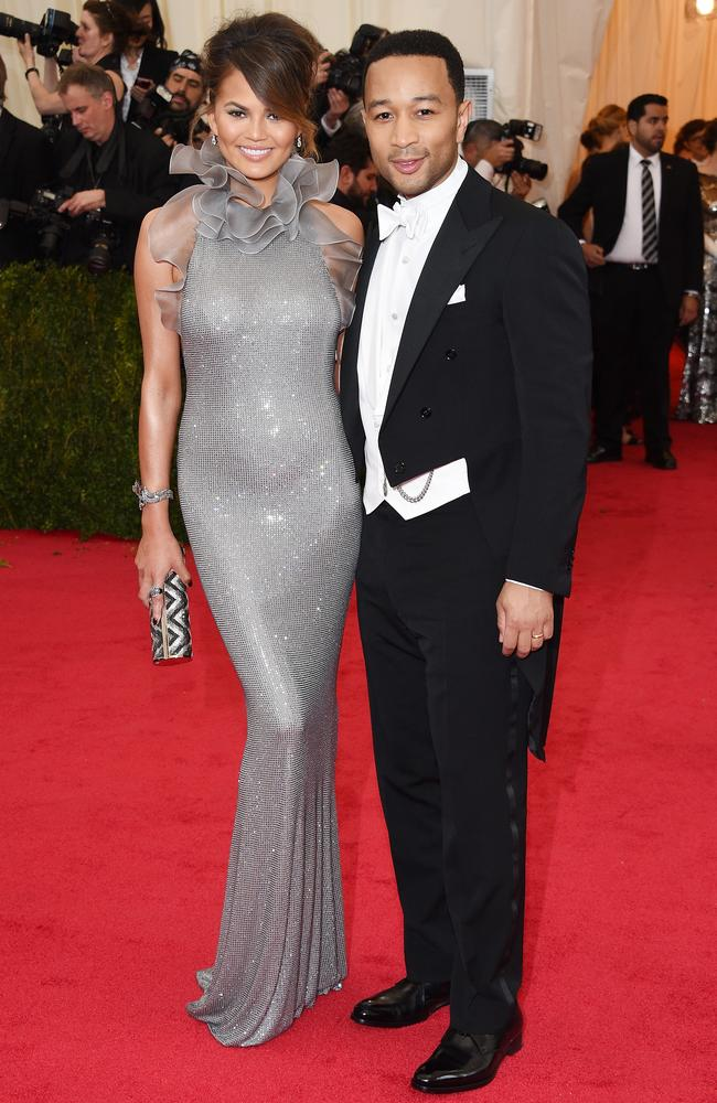 Glamour couple ... Chrissy Teigen and John Legend at the Met Gala in 2014.