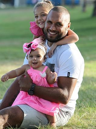 Gordon with daughters Aliyah, 6, and Nyarla, 8 months.