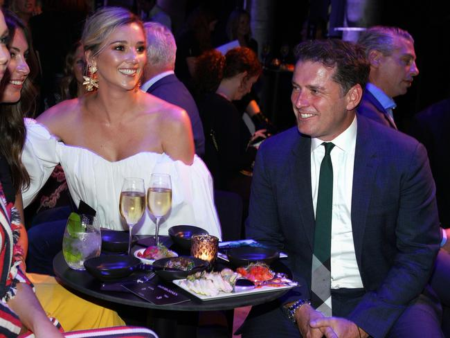 Karl Stefanovic and fiancee Jasmine Yarbrough attend the 2018 David Jones Autumn-Winter collection launch this week. Picture: AAP Image/Ben Rushton