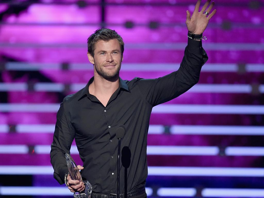 Chris Hemsworth accepts Favorite Action Movie Actor award onstage during the People's Choice Awards 2016. Picture: Kevin Winter/Getty Images