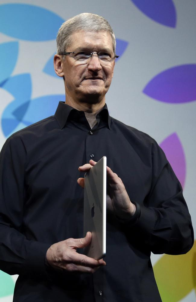 Expected to take back its premier position ... Apple CEO Tim Cook introduces the new iPad Air in October last year. Picture: AP