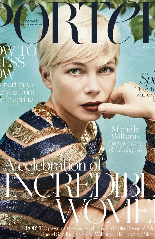 Michelle Williams on the cover of the latest issue of Porter.