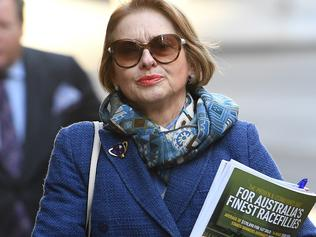 Horse trainer Gai Waterhouse arrives at a Stewards Hearing at Racing NSW, in Sydney, Thursday, April 27, 2017. Waterhouse along with fellow trainer Adrian Bott are fronting a Stewards' hearing in relation to the substitution of horses in televised track gallops on April 4. (AAP Image/Dan Himbrechts) NO ARCHIVING