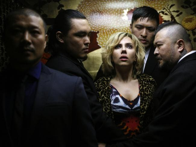 Johansson's Lucy gets caught up with the wrong crowd in a scene from the film.