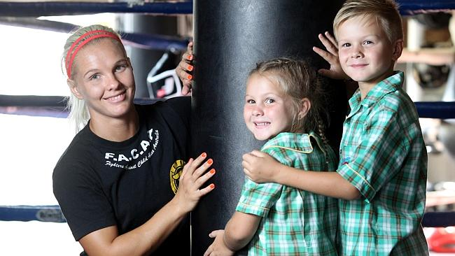 Shannon O'Connell with Taylor, 6, and Cooper, 7.