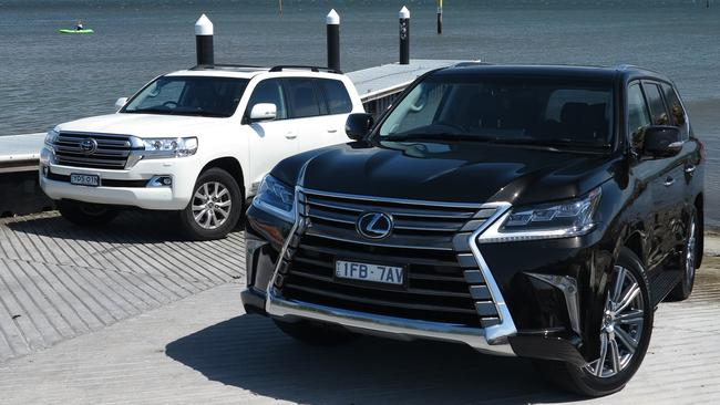 Twins under the skin: the Toyota LandCruiser (left) and Lexus LX570 (right). Picture: Joshua Dowling.
