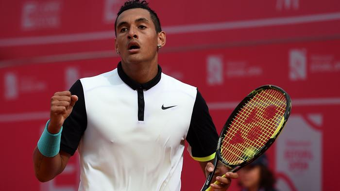 (FILES) This file photo taken on May 2, 2015 in Estoril shows Australian Nick Kyrgios celebrating a point over Spanish Pablo Busta during the semi-final Estoril Open Tennis tournament. Wayward tennis star Nick Kyrgios will seek psychological help to avoid an eight week ban ordered by the ATP for a tantrum at the Shanghai Masters, Tennis Australia said on October 17, 2016. / AFP PHOTO / FRANCISCO LEONG