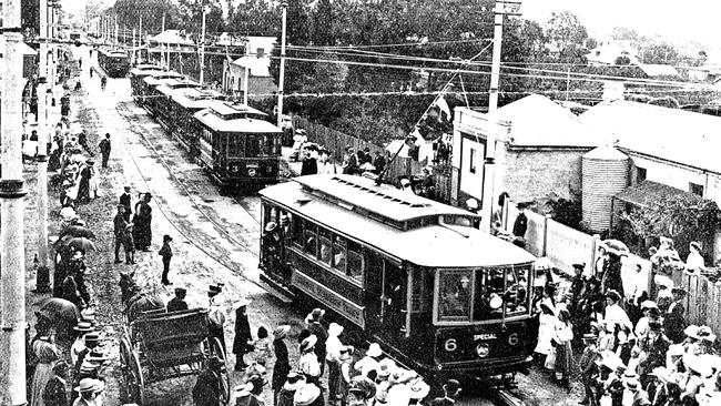 The official procession of trams to mark the opening of the new electric system in 1909 at Gurrs Rd, Shipsters Rd and Maesbury St, Kensington. Picture: Tramway Museum