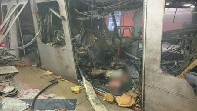 The horrifying picture that purports to show inside Maelbeek metro posted on Twitter.