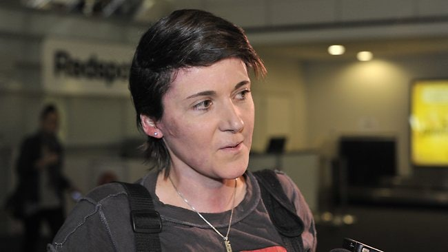Ultramarathon burns victim Kate Sanderson arrives at Perth Airport ahead of the Parliamentary which starts tomorrow. Picture: Kerris Berrington