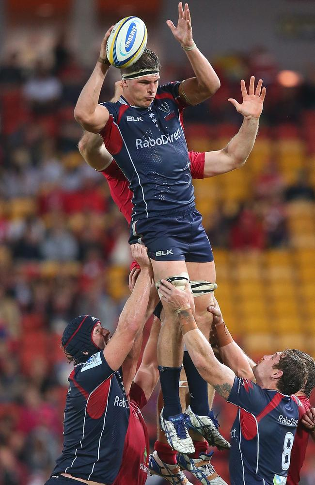 Luke Jones wins a lineout for the Rebels.