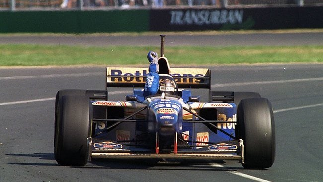 Damon Hill after winning the 1996 Australian Grand Prix at Albert Park. Picture: Paul Trezise