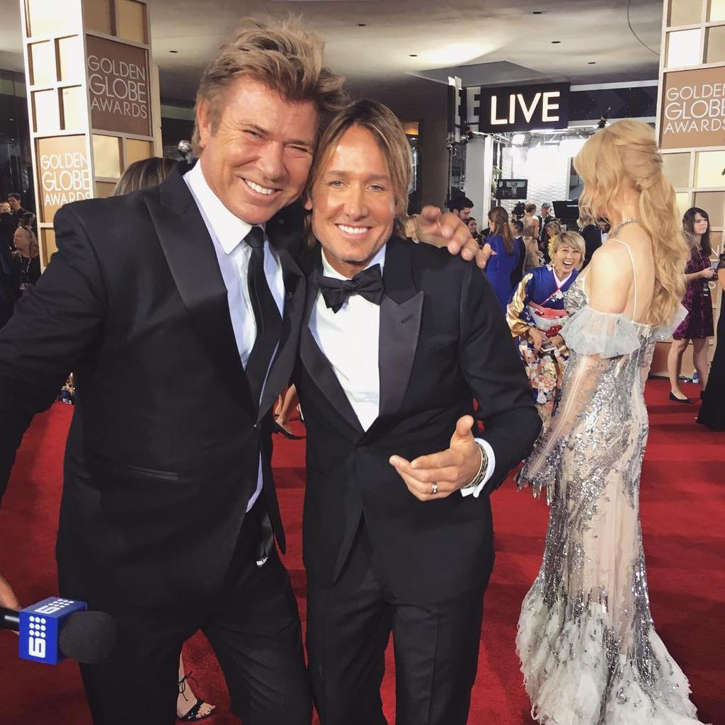 "Richard Wilkins with Keith Urban ... ""The #GoldenGlobes red carpet is full of the biggest stars, but that doesn't mean we can't have some fun! And how great does Nicole look?!"" Picture: Instagram"