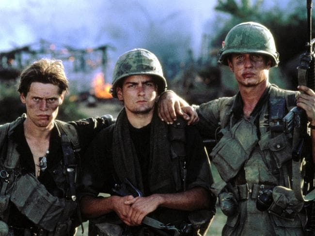 Willem Dafoe, Charlie Sheen, Tom Berenger in a scene from Oliver Stone's film, Platoon. Picture: Supplied