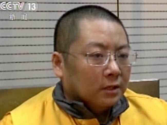Chinese authorities filmed their interrogation of Ding Ning. Picture: CCTV