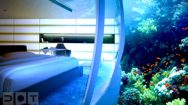 It's not the world's first underwater hotel room, but it is the most lavish. Picture: Deep Ocean Technology
