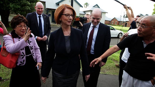Prime Minister Julia Gillard arrives at the University of Western Sydney's Parramatta Campus. Picture: Sam Mooy