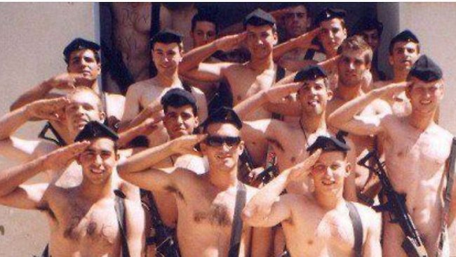 Stand to attention. Israeli soldiers join the fun.