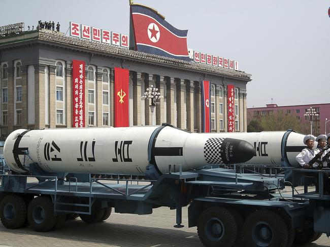 A submarine-launched ballistic missile is displayed in Kim Il-sung Square during a military parade in Pyongyang, North Korea. Picture: AP Photo/Wong Maye-E, File