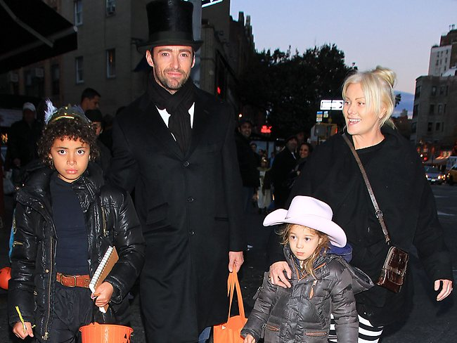Jackman and his wife Deborah-Lee Furness take son Oscar, 11, and daughter Ava, 6, trick-or-treating in Hollywood last year. Picture: Snappermedia