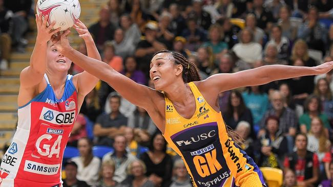 Sunshine Coast Lightning captain Geva Mentor (right) challenges the Swifts' Amy Sommerville for the ball on Saturday night.