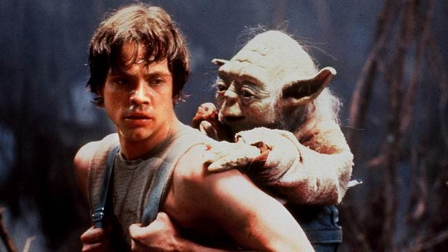 Luke Skywalker (played by Mark Hamill) and Yoda in The Empire Strikes Back.