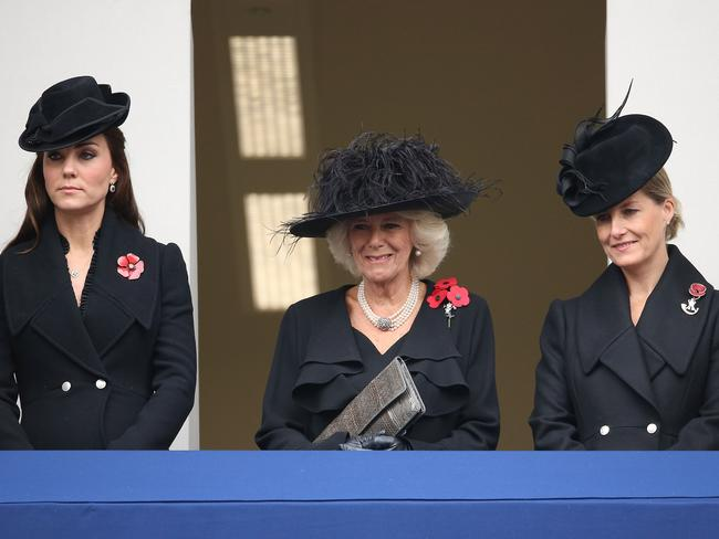 Catherine, Duchess of Cambridge, Camilla, Duchess of Cornwall, and Sophie, Countess of Wessex attend the annual Remembrance Sunday Service. Picture: Chris Jackson/Getty Images