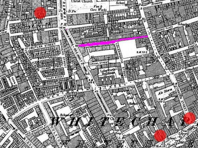 Killing sports ... this map of Whitechapel in the 1800s shows Flower and Dean Streets in purple and the sites of some killings as red spots. Picture: Supplied