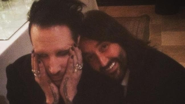 Josh Schmidt with an embarrassed Marilyn Manson after the case of mistaken identity.