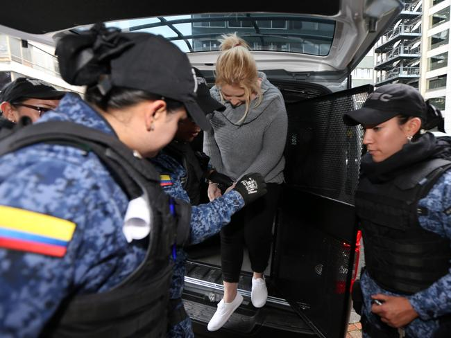 Accused Australian drug mule Cassie Sainsbury appeared in a Bogota court. Picture Gary Ramage.