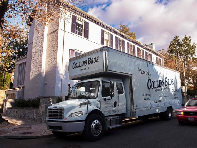 A moving truck outside the new home of Ivanka Trump, where neighbours say she was in the backyard pushing her son on the swings. Pic: AFP