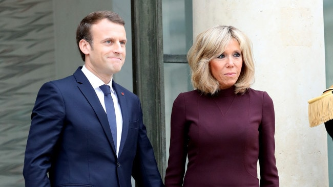 French President Emmanuel Macron and his wife Brigitte met when she was 38 and he was 14 and her student. (Photo by Mustafa Yalcin/Anadolu Agency/Getty Images)