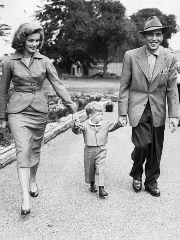 Humphrey Bogart with Lauren Bacall and son Stevie in 1951. Picture: Supplied