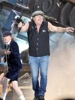 <p>Members of Australian legendary hard rock band AC/DC Brian Johnson and Angus Young perform at the Velodrome stadium in Marseille, southern France.</p>